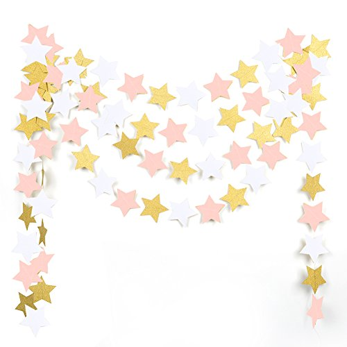 MOWO Paper Garland Twinkle Star Pink Gold Glitter and White 3 Circle Decoration 2pc 20 feet in Total