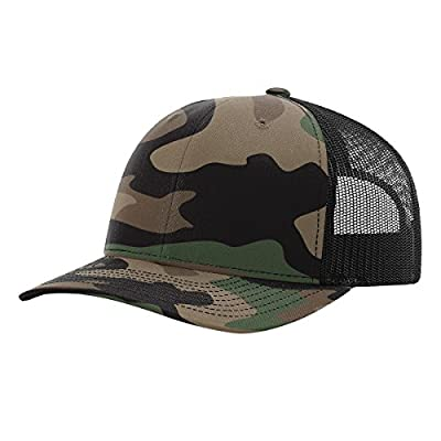 Richardson 112P Green Camo/Black Structured Snap Back Trucker Hat