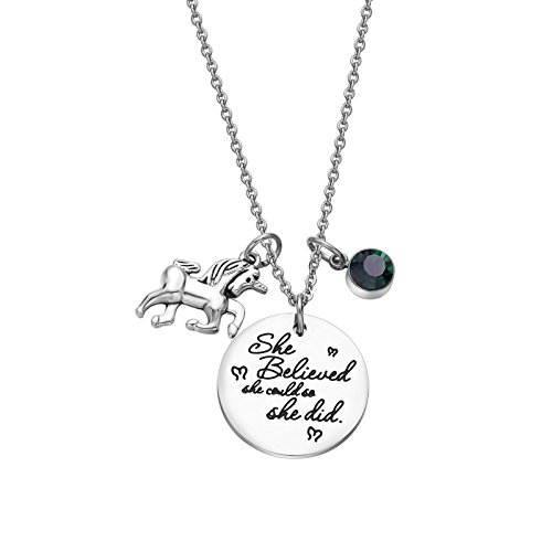 Fullrainbow 2018 Stainless Steel Inspirational Message Heart Necklace Pendant Charm Chain Necklace She Believed She Could So She Did (May)