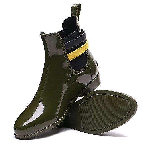 TONGPU Womens Garden Rain Booties Fashion Waterproof Footwear Green zoHlsExx