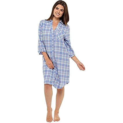 893efda3e7 Follow That Dream Women s Tartan Check Print 100% Brushed Cotton Nightshirt