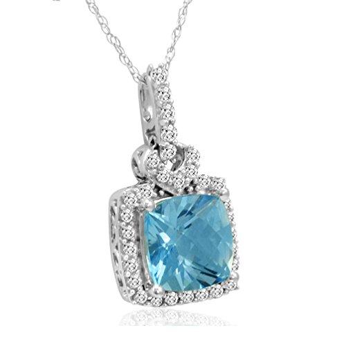 10K White Gold Pendant-Necklace with Swarovski Cut Blue and White Topaz 3ct tgw