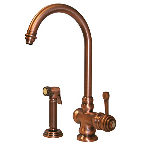Whitehaus WH17666-ACO Evolution 7 1/2-Inch Colonial Style Single Lever Mixer with Gooseneck Swivel Spout and Fluted Solid Brass Side Spray, Antique Copper Evolution Single Lever Faucet