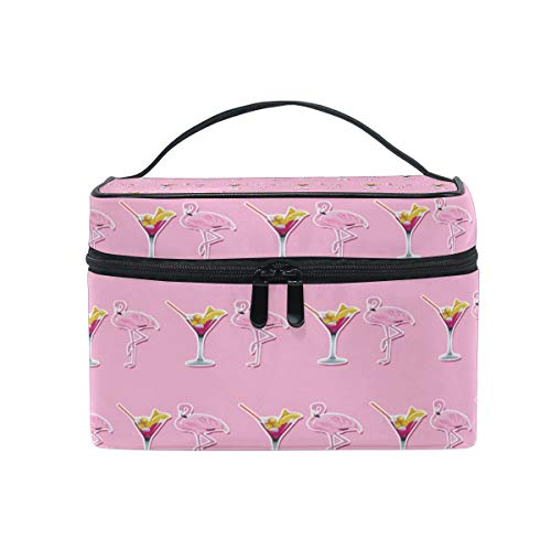 - Travel Cosmetic Bag Summer Flamingo Pink Drink Toiletry Makeup Bag Pouch Tote Case Organizer Storage For Women Girls
