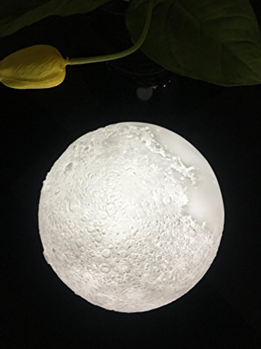 Butylee Moon Night Light PLDM 3D Printing Moon Lamp ,Warm and Cool White Dimmable Touch Control Brightness with USB Charging, Home Decorative Lights Baby Night Light (3.15inch) by Butylee
