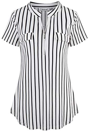 Ninedaily Women's Summer Tops Short Sleeve Casual Blouse Zip Floral Tunic Shirts,Black White Stripe, Size - White Black Blouse
