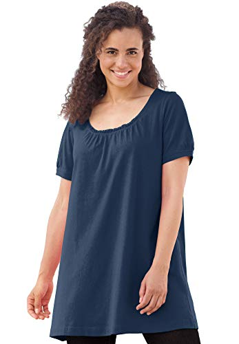 Woman Within Women's Plus Size Perfect Shirred U-Neck Tunic - Navy, 2X