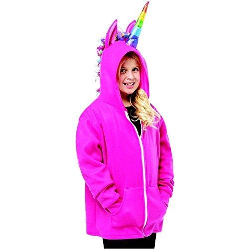 (Unicorn Hoodie Child Costume Pink - Medium)