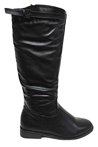 """CHIX Black Brush Leather Look """"Riding Style"""" Calf Boots 6908"""