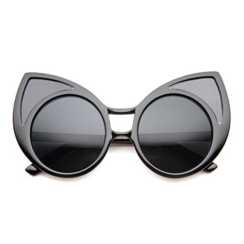 zeroUV - Womens High Fashion Oversized Window Lens Round Cat Eye Sunglasses (Black / - Farrow Eye Sunglasses Linda Cat