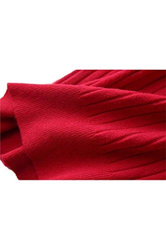 Elasticidad manga corta ajuste suéter camisa Yacun mujeres Red