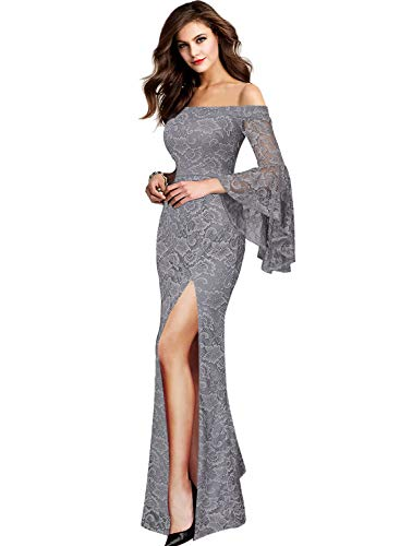 VFSHOW Womens Grey Lace Off Shoulder Ruffle Bell Sleeve Formal Evening Wedding Maxi Dress 1810 Gry L