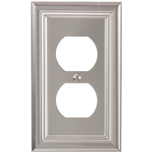 (Amerelle 94DN Continental Cast Metal Wall plate with 1 Duplex Outlet, Satin)