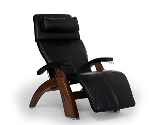 Perfect Chair Human Touch PC-420 Classic Manual Plus Series 2 Walnut Wood Base Zero-Gravity Recliner - Black Premium Leather - in-Home White Glove Delivery