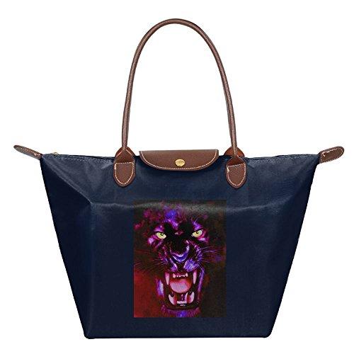 Angry Panther Womens Shoulder Bag Navy Tote Fashion Handbag Hobo Beach Bags wqqI7tUxg6