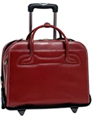 McKlein 17' Willowbrook Red Italian Leather Detachable-Wheeled Ladies' Notebook Briefcase