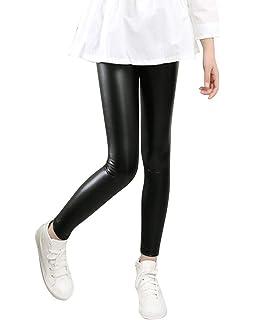 2a515ea878 Niñas Calentar Leggings Pantalones De Imitación De Cuero Invierno Gruesos  Elásticos Jeggings Leggins