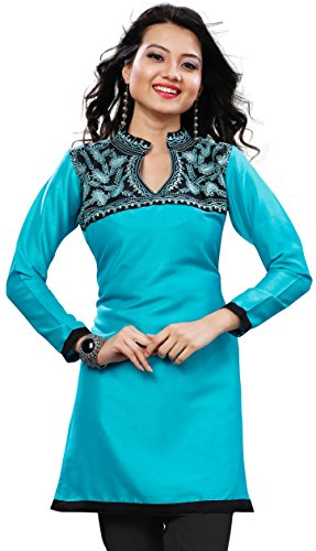 Long Indian Tunic Top Tunic Silk Womens Blouse India Clothes (Turquoise, 4XL)
