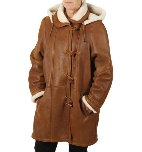 Simons Leather Women's Nappalamb Sheepskin Duffle Coat 18-20 Tan -