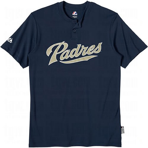 (San Diego Padres (ADULT MEDIUM) Two Button MLB Officially Licensed Majestic Major League Baseball Replica Jersey)