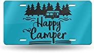 Happy Camper License Plate Metal Aluminum Vanity Auto Car Tag for Decoration 6x12 Inchs