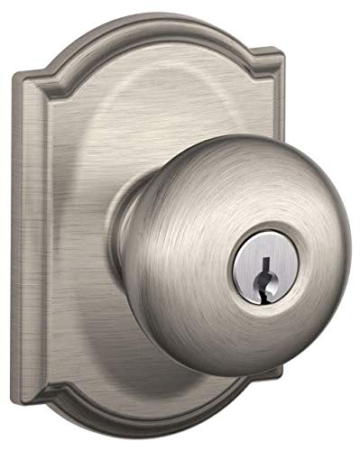 Schlage F51 PLY 619 CAM Camelot Collection Plymouth Keyed Entry Knob, Satin Nickel