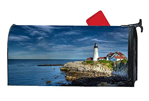 Beach Scene Lighthouse - Lighthouse Scene Beach Magnetic Mailbox Cover, All-Weather Vinyl Mailbox Wrap Home Decorative Standard Size 6.5 x 19 Inches