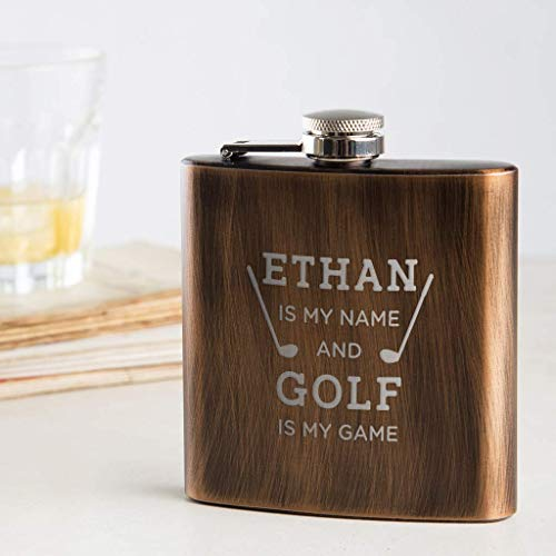 Golf Flasks for Liquor for Men - Personalized Golf Gifts for Him Dad - 'Golf Is My Game' Design - Unique Birthday, Father's Day Gift - Pocket Stainless Steel 6Oz Canteen