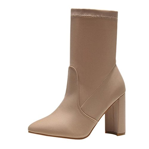 Boots Beige Classic Winter Inkach High Snow Women Ankle Martin Boots Heels Shoes YaPfTq1
