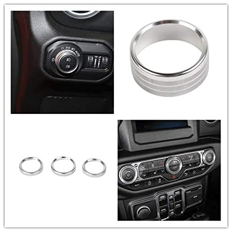Red Highitem 4Pcs Car Headlight Air Conditioning Switch Knob Button Decoration Cover Ring Trim for Jeep Wrangler JL 2018Up Interior Styling