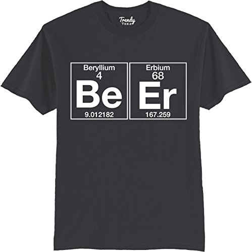 Trendy Teez The Element of Beer College Science Periodic Table Funny Drinking T-Shirt charcoal-2XL
