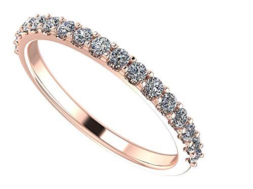 NaNa Simulated Diamond Wedding Ring Swarovski Zirconia Sterling Silver- Stackable Ring-Wedding Band-Rose Gold Plated-Size 5.5 (Rose Gold Wedding Band With Platinum Engagement Ring)