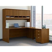 "Bush BBF Series C 72"" L-Shaped Desk with Hutch in Warm Oak"