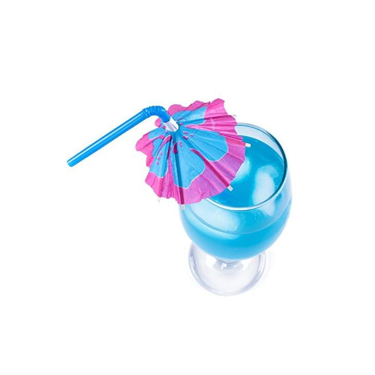 Multicolored Tropical Luau Parasol Hibiscus Print Umbrella