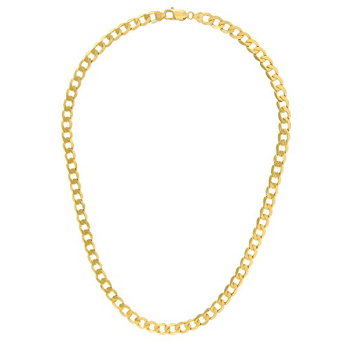 Revoni Bague en or jaune 9carats-28g-Collier Femme-Maille Gourmette, longueur 51cm/50,8cm, 7,3mm Largeur