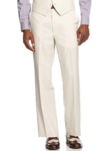 Cream Dress Pants (Sean John Flat Front Dress Pants 30 x 30 Cream Striped Regular Fit Suit Separate)