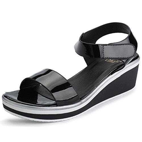 Alexis Leroy Women's Open Toe Comfort Platform Wedge Sandals Black 8-8.5 M US ()