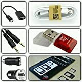 CLASSICO 1 OTG CABLE+1 DATA CUM CHARGING CABLE+1 AUX CABLE+1 MICRO USB CARD READER+1 CAR CHARGER+1 SIM ADAPTER ACCESSORIES KIT