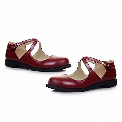 Carol Shoes Women's Concise Cute Flat Bandage Buckle Court Shoes Wine Red KPrNe6uD