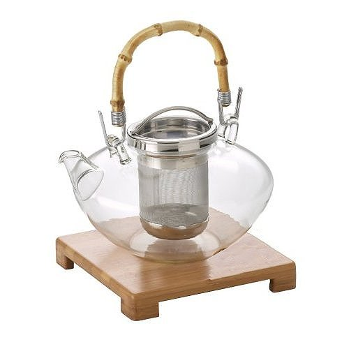 FantasticTea Japanese Style Zen Glass Teapot with Stainless Steel Infuser and Bamboo Handle