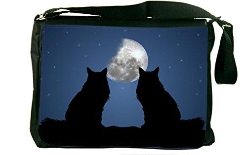 Rikki Knight Black Cats on Blue Design Messenger Bag - Shoulder Bag - School Bag for School or Work