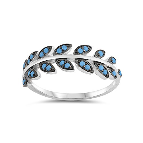 .925 Sterling Silver Simulated Turquoise Leaves Ring ()