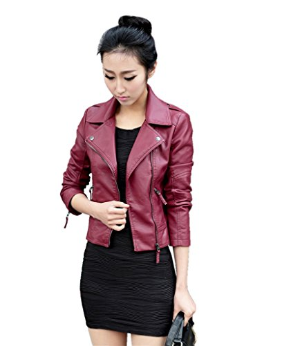 GetUBacK Vintage Women's Slim Biker Motorcycle PU Leather Zipper Jacket Punk Rock Chinese XXXL Wine