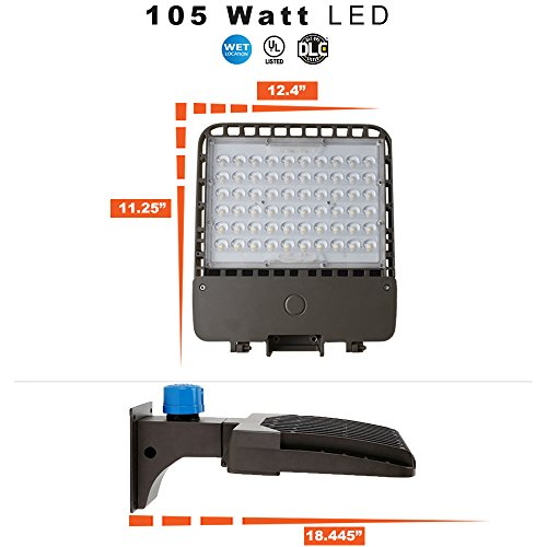 LED Parking Lot / Area Light – Pole Mount with Photocell – 105 Watt and 5000K Review
