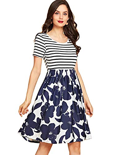 - Women's Vintage Floral Dress Print Swing Cocktail Party Casual Midi Dresses with Pocket (1-A-Dark Blue, L)