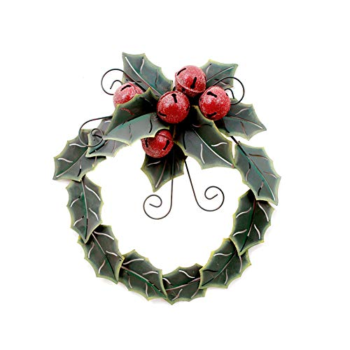 Metal Holly Leaves Christmas Wreath with Jingle Bell Ornaments Front Door Wreaths Hanging Wall Decor (S)