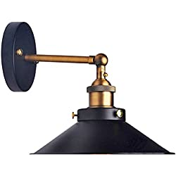 Lemonbest Modern Vintage Industrial Loft Metal Black Rustic Wall Sconce Light Retro Wall Lamp