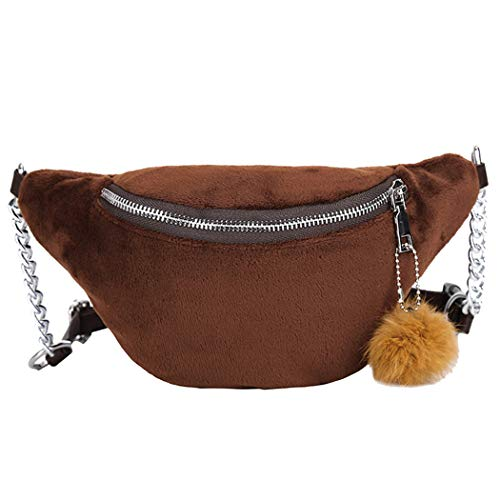 Fashion Wasit Bag Neutral Sport Designer Plush Waist Bag Hairball Waist Bags Solid Chest Bag Brown