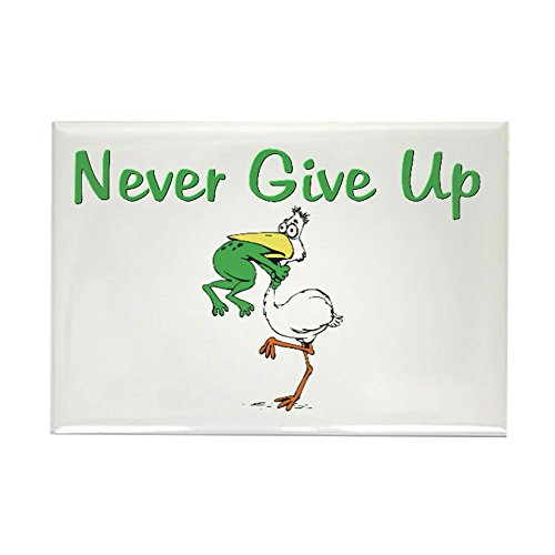 (CafePress Never Give Up Stork and Frog Rectangle Magnet Rectangle Magnet, 2