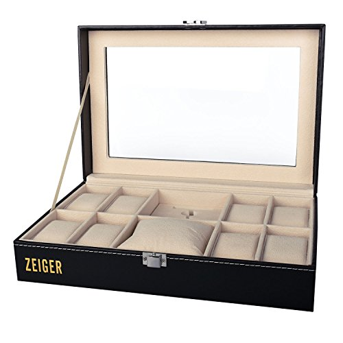 Zeiger Mens Women Jewelry Watch Box Decorative Black Faux Leather Watch Case and Pocket Glass Top Display Organizer S001
